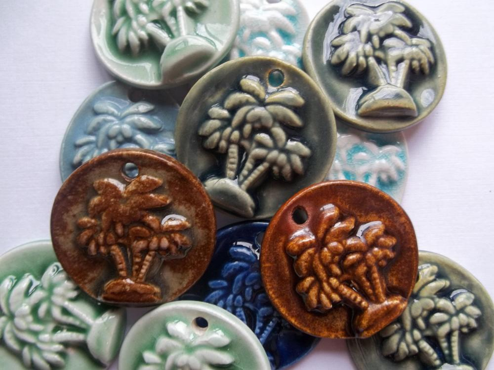 Palm tree ceramic stoneware pendant