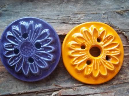 Handmade stoneware clay flower button