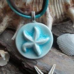 Seashell Starfish Handmade ceramic pendant necklace