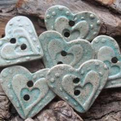 SALE Heart shaped handmade stoneware clay button