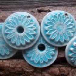 Flower shaped handmade ceramic pendant