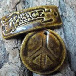 Peace stoneware bracelet connector and pendant set