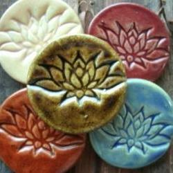 Brown Lotus flower stoneware cabochon