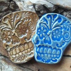 Brown Sugar Skull Cabochon stoneware