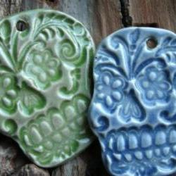 Green Sugar Skull pendant stoneware