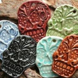 Green Sugar Skull Cabochon stoneware