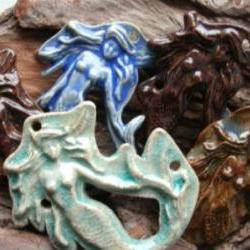 Stoneware crackled blue Mermaid pendant