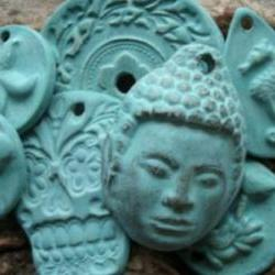 Turquoise glazed Handmade Stoneware clay Buddha pendant